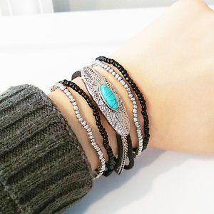 Turquoise & Silver-toned Plate Bracelet